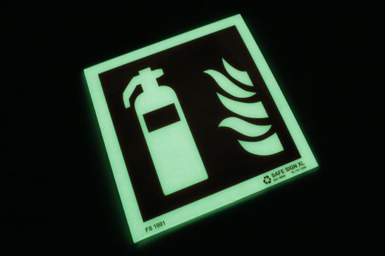Glowing SafeSign PETX fire eqtinguisher sign
