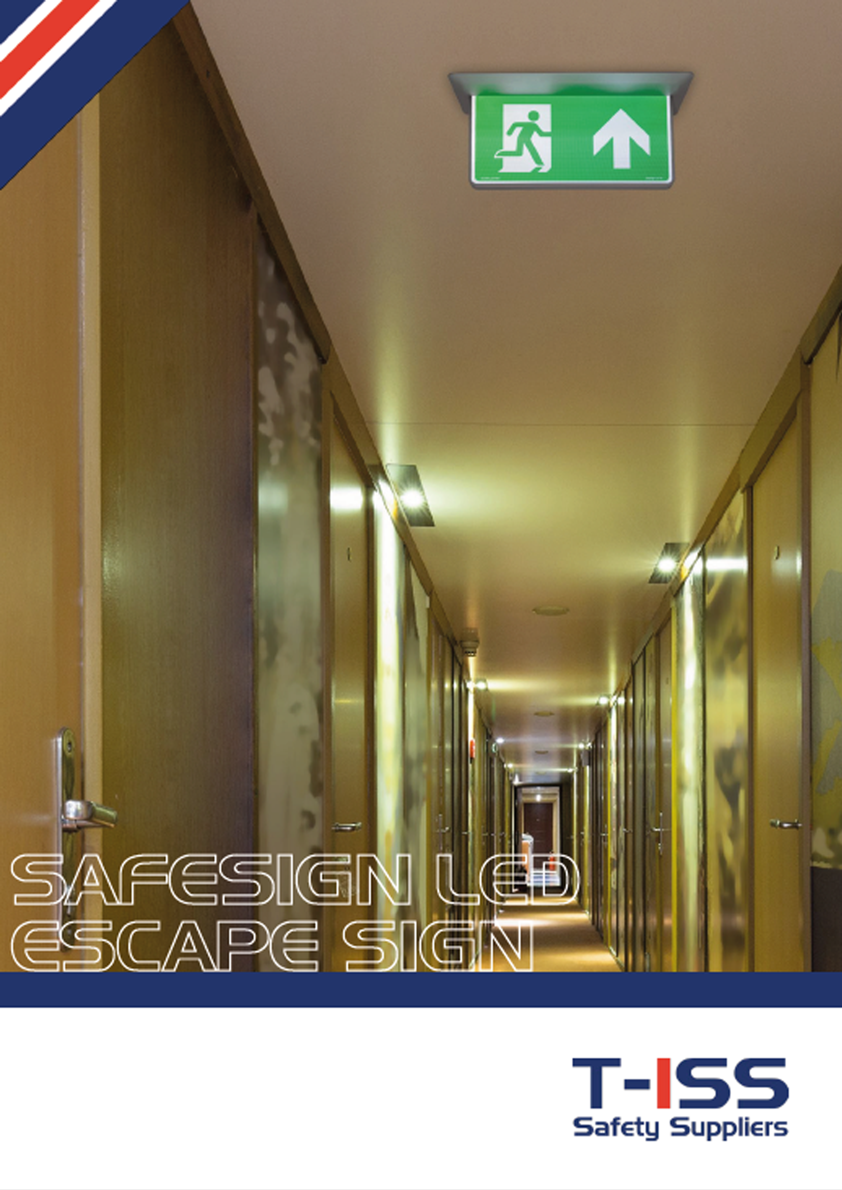 Flyer SafeSign LED Escape Sign by T-ISS Safety Suppliers